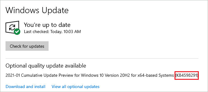 Note down the KB number of the update