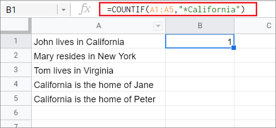Check the result for COUNTIF Google Sheets function