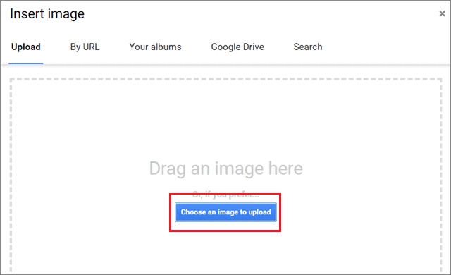 Select Choose an image to upload