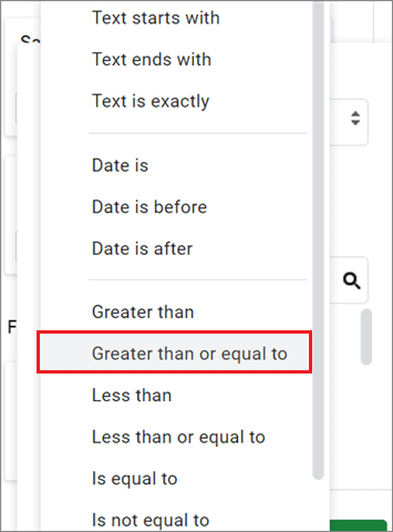 Select the required condition