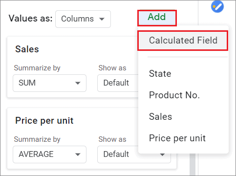 Click on Calculated Field