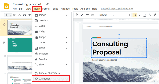click insert and select animation for how to add animations on google slides
