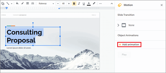 click insert and select animations for how to add animations on google slides