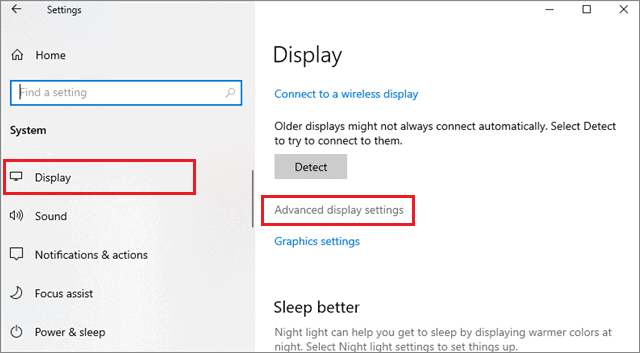 click on advanced display settings to fix second monitor not detected