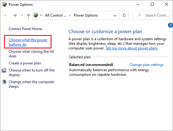 Select Change what power buttons can do to fix wireless mouse is not working in Windows 10.