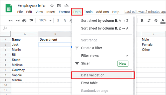 click on data and select data validation