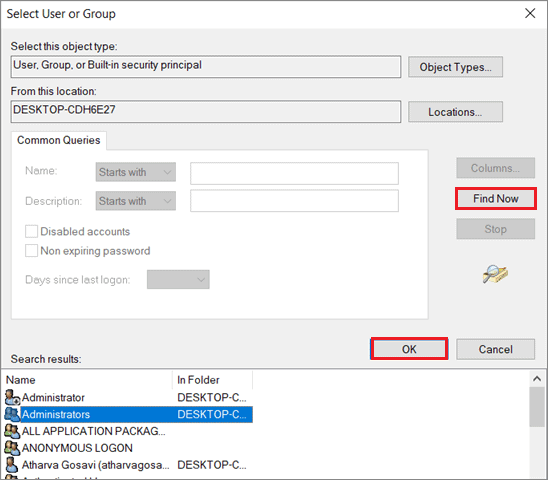 Click on Administrators and select OK