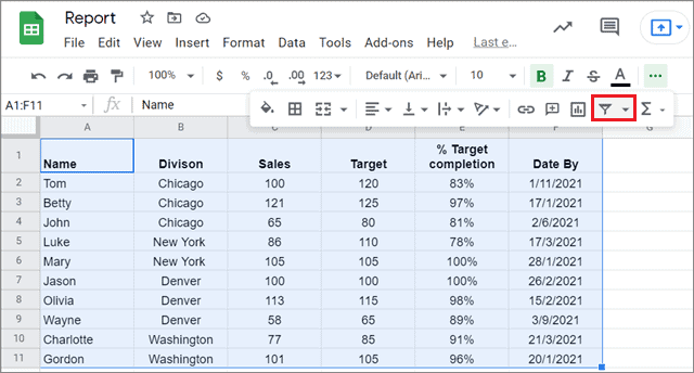 Click on the filter button to add a Google Sheets filter