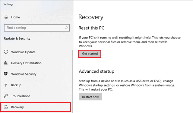 click on get started  to fix can't drag and drop windows 10