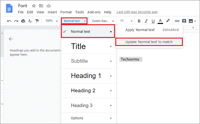 click on normal text to match for how to change default font in google docs