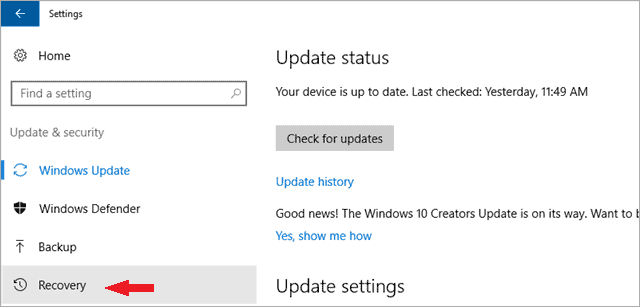 click on recovery factory reset Windows 10