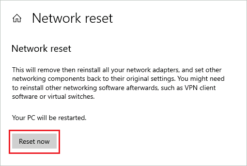 Click on Reset now