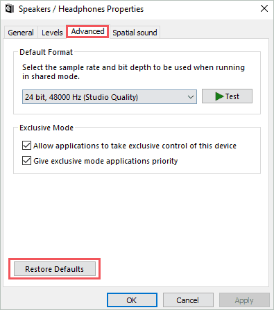 click on Restore defaults