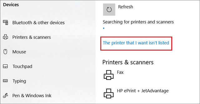 Click on 'The printer that I want isn't listed.'