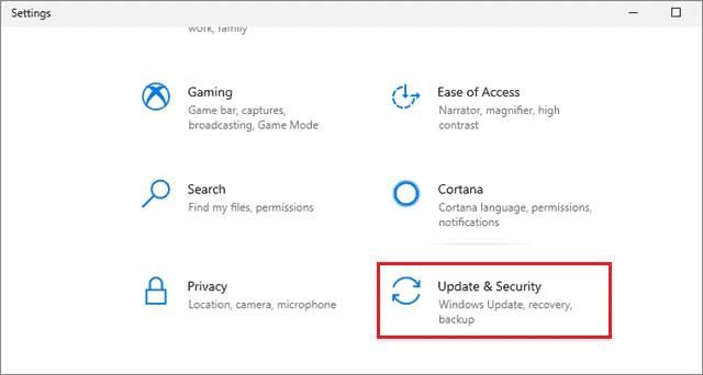 click on update and security to fix windows 10 desktop icons missing