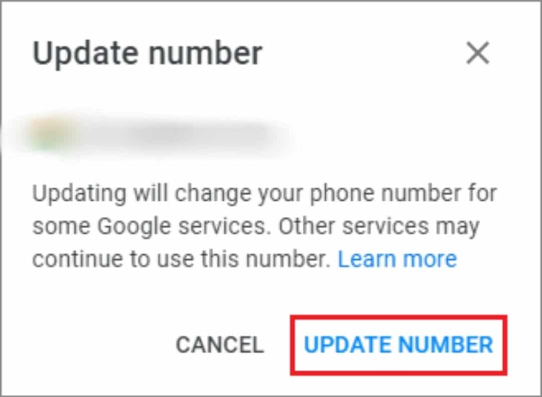 click on update number for how to change phone number on gmail