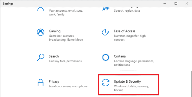 Select Update and Security to fix wireless mouse is not working in Windows 10.