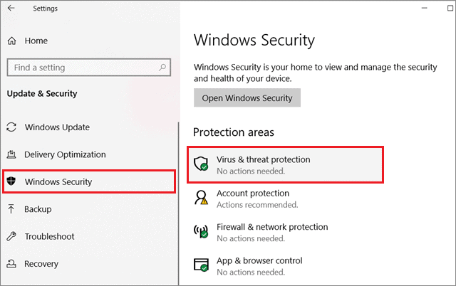 Select Windows Security and Virus and threat protection