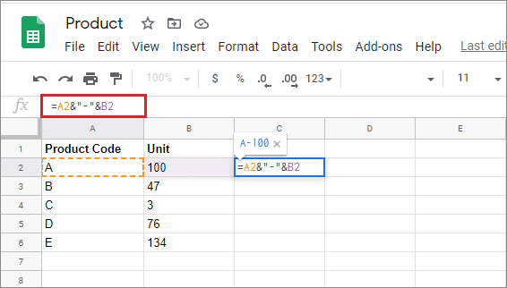 how to merge cells in google sheets with a separator