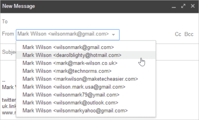 You can choose which email address should be used to send each time you compose a message.