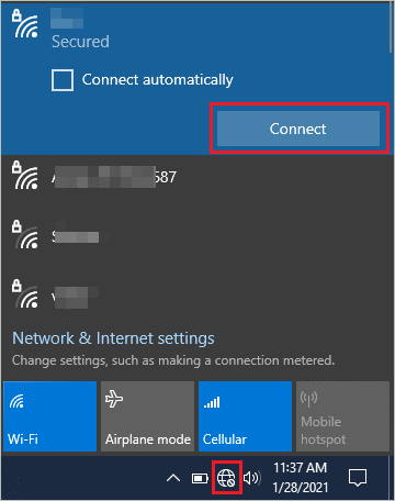 Connect to the WiFi network