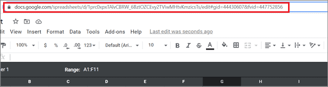 Copy URL to share the Google sheets filter view