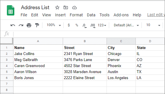 create an address list on how to print labels from google sheets