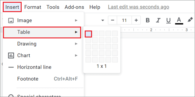 Insert single-cell table To Insert Text Box In Google Docs