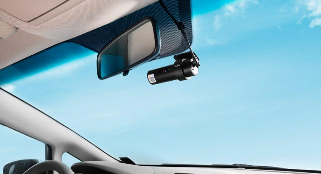 dash cam - mounted with an adhesive
