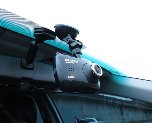 dash cam - mounted with suction cup