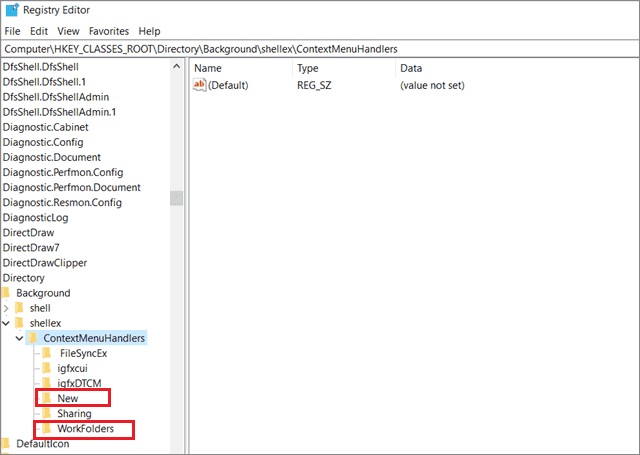 delete all files except new and workfolders  to fix Windows 10 Right Click Is Not Working