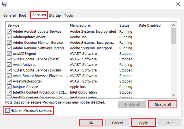 Hide all Microsoft services and click on Disable all