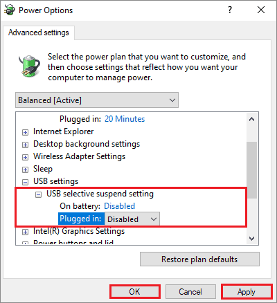 disable selective suspend to fix touch screen not working Windows 10
