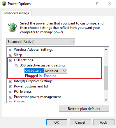 disable selective suspend to fix usb ports not working