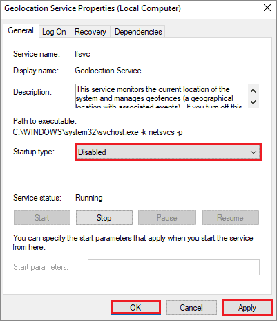 disable startup geolocation services to fix windows 10 stuck on restarting
