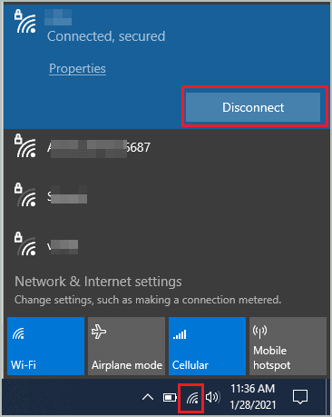 Disconnect the wireless network