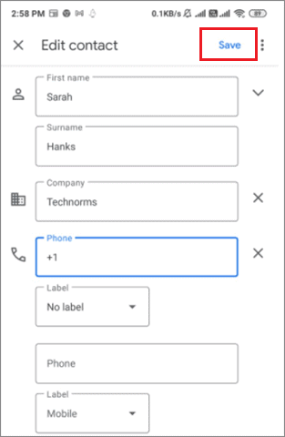 Click on Save for how to edit contacts in gmail