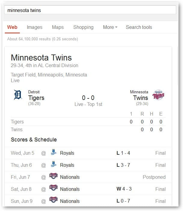 viewing-current-score-of-mn-twins-in-google
