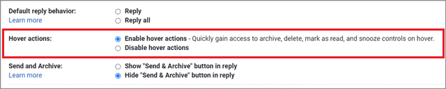 Enable Hover actions  for how to organize Gmail