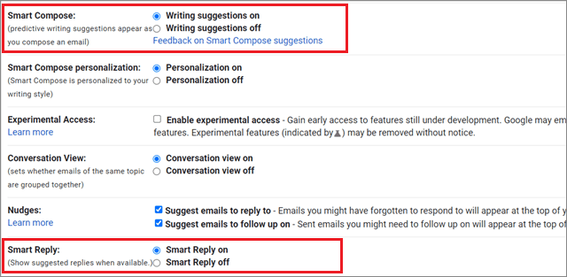 Turn on the Smart Compose and Smart Reply features for how to organize Gmail