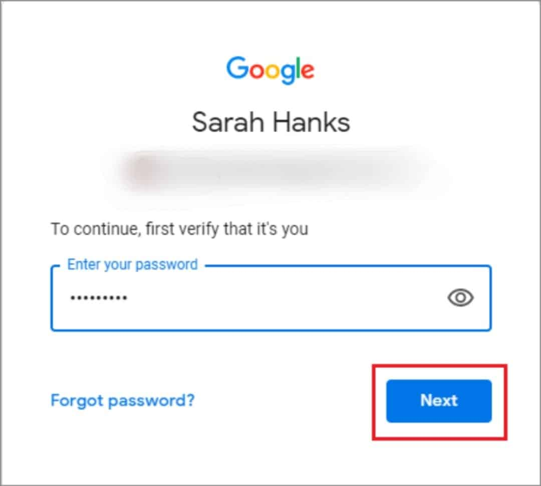 enter acount password and click on next
