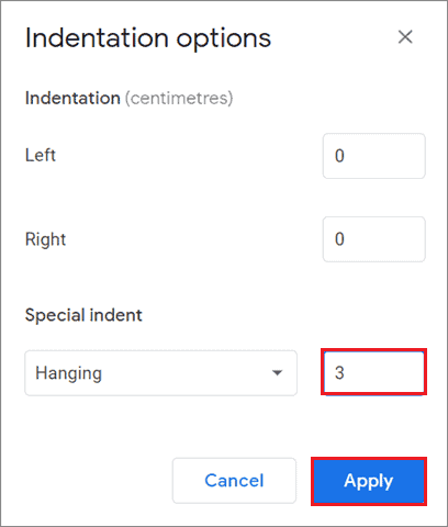 Enter the indent amount for How To Do Hanging Indent On Google Docs