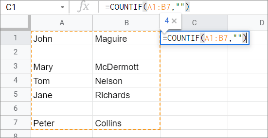 Enter the formula for COUNTIF Google Sheets function