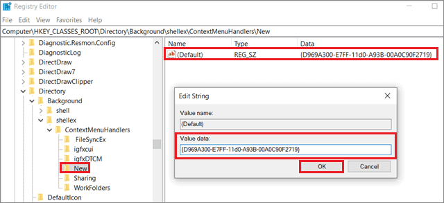Enter the value  To Fix Can't Create New Folder In Windows 10