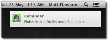 Getting Evernote reminder notifications