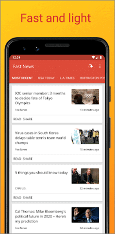 fast and light best Android news app