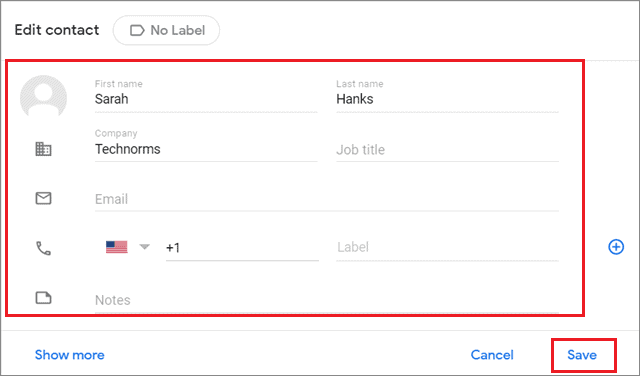 Edit Contacts In Gmail and click save