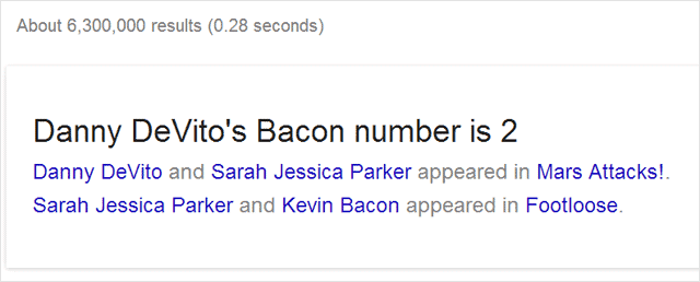 Example of Six Degrees of Bacon Chrome Easter egg.