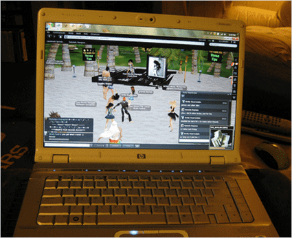 Second Life on a laptop.