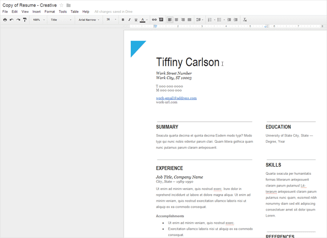 entering data into template - Free Resume Template Google Docs